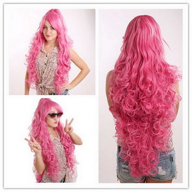 Free ship 75cm/30inch heat resistant synthetic long pink wig cosplay for costume party, long curly pink wig with inclined bangs