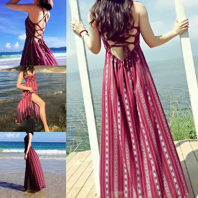 Summer Maxi Dress Backless Chic Boho Women S Beach Dress Red
