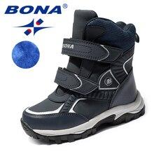 BONA Neue Klassiker Stil Kinder Stiefel Haken & Loop Jungen Schnee Stiefel Leder Jungen Stiefeletten Outdoor Mode Turnschuhe