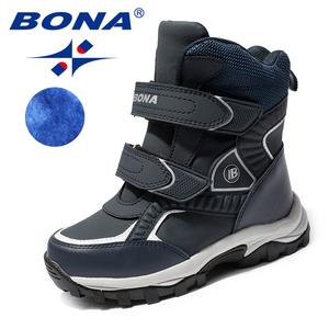 Image 1 - BONA New Classics Style Children Boots Hook & Loop Boys Snow Boots Leather Boys Ankle Boots Outdoor Fashion Sneakers