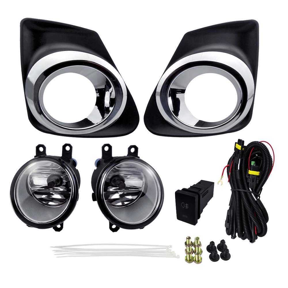 Fog Light Assembly Sets For Corolla Altis 2011 Corolla 2011 ABS 4300K Yellow 12V 55W With Wires Harness Switch Plating Cover