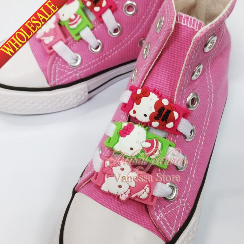 Kids Gift 2pcs/lot Shoe Buckles Accessories Shoe Lace Abrasion Hello Kitty KT Shoelace Shoe Decoration Shoe Buckle For Girls