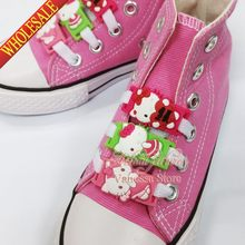 Kids gift 2pcs/lot Shoe Buckles Accessories Shoe Lace Abrasion Hello Kitty KT shoelace shoe decoration shoe buckle for girls(China)