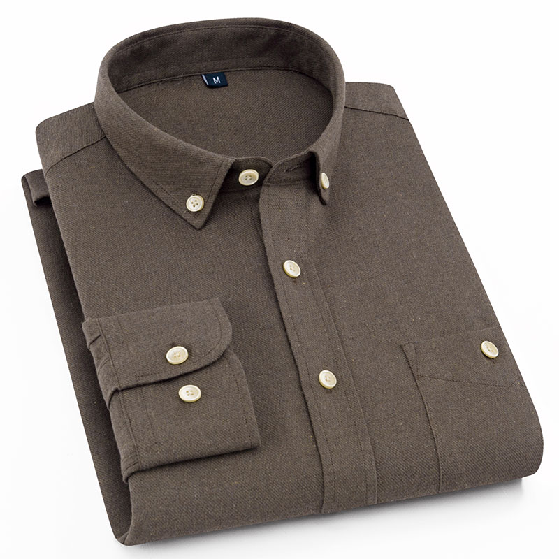 2019 New Soft  Brushed Fabric Button Collar Long Sleeved Comfortable Plain Solid  Smart Casual Shirts For Mens No Fade No Shrink