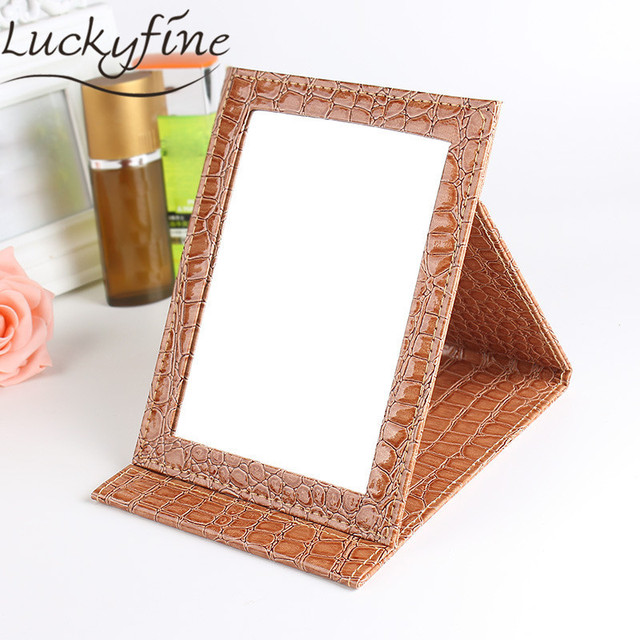 Gold Tabletop Portable Foldable Makeup Mirror Alligator Pattern PU ...