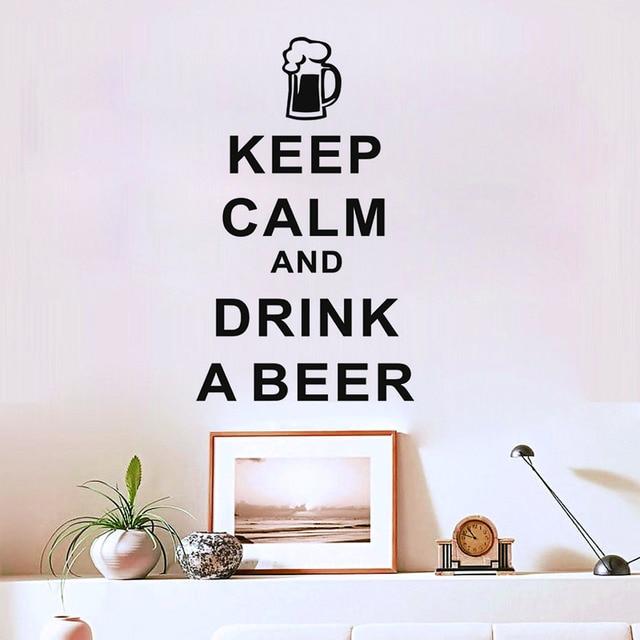 Giữ Bình Tĩnh Và Uống MỘT Bia Vinyl Tường Sticker Cho Thanh Phòng Living Phòng Ngủ Không Thấm Nước Hình Nền Hiện Đại Tường Đề Can Cho trang Trí Nội Thất