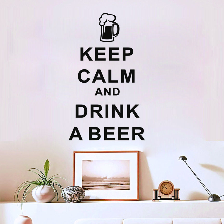 Keep Calm And Drink A Beer Characters Wall Stickers Home Decor Living Room Bedroom Decor ...