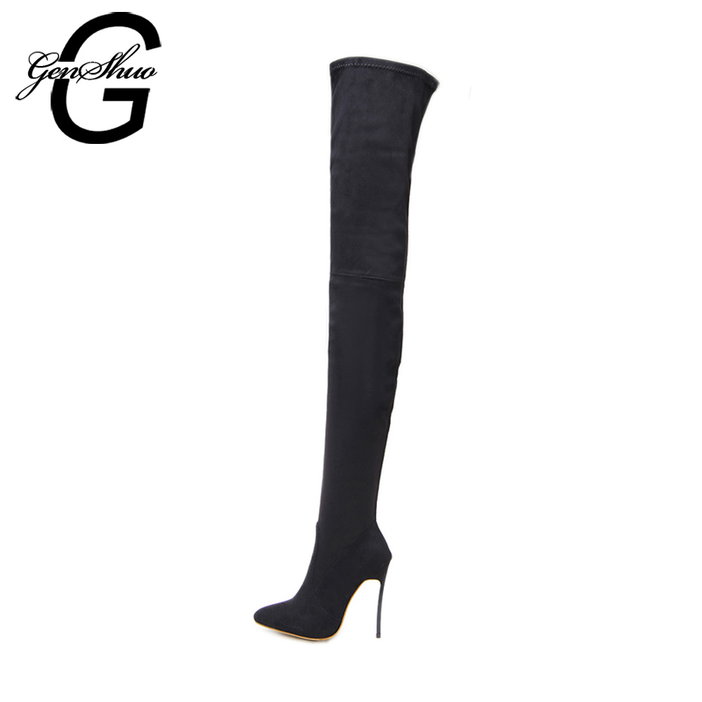 GENSHUO Women Boots Autumn Spring 2018 High Heeled Over The Knee Boot Shoes Woman Thigh High