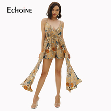 Fashion Trend Women Comfy Floral Jumpsuit 2019 New Summer Leisure Sexy V-neck Sling Print Loose Piece Shorts Wide Leg Pants цена 2017