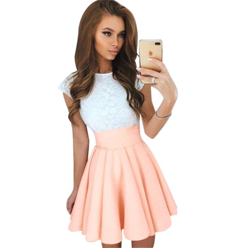Women Dress Summer 2017 New Fashion Sexy White Lace Dresses Elegant O Neck Mini Party Dress Plus