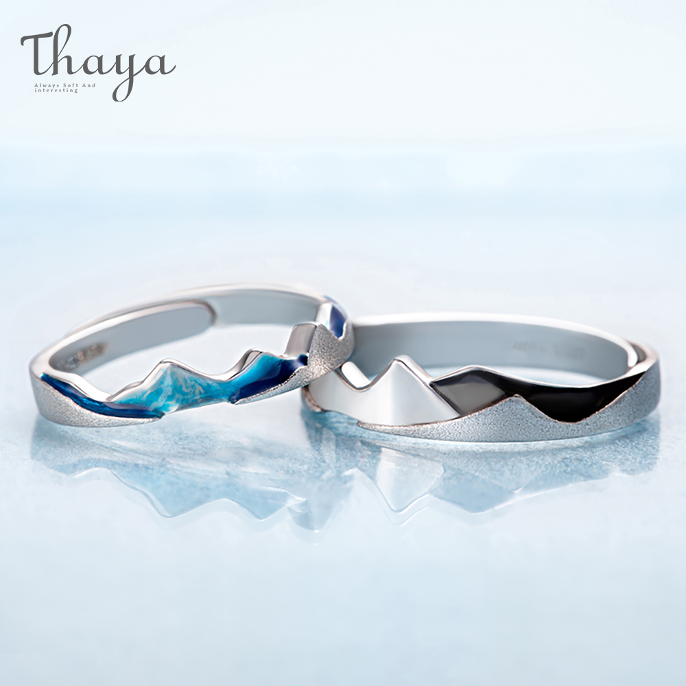 Thaya Coast to Coast Design Rings Cool In Summer S925 Sterling Silver Jewelry Couple Ring For Wedding Engagement Gift