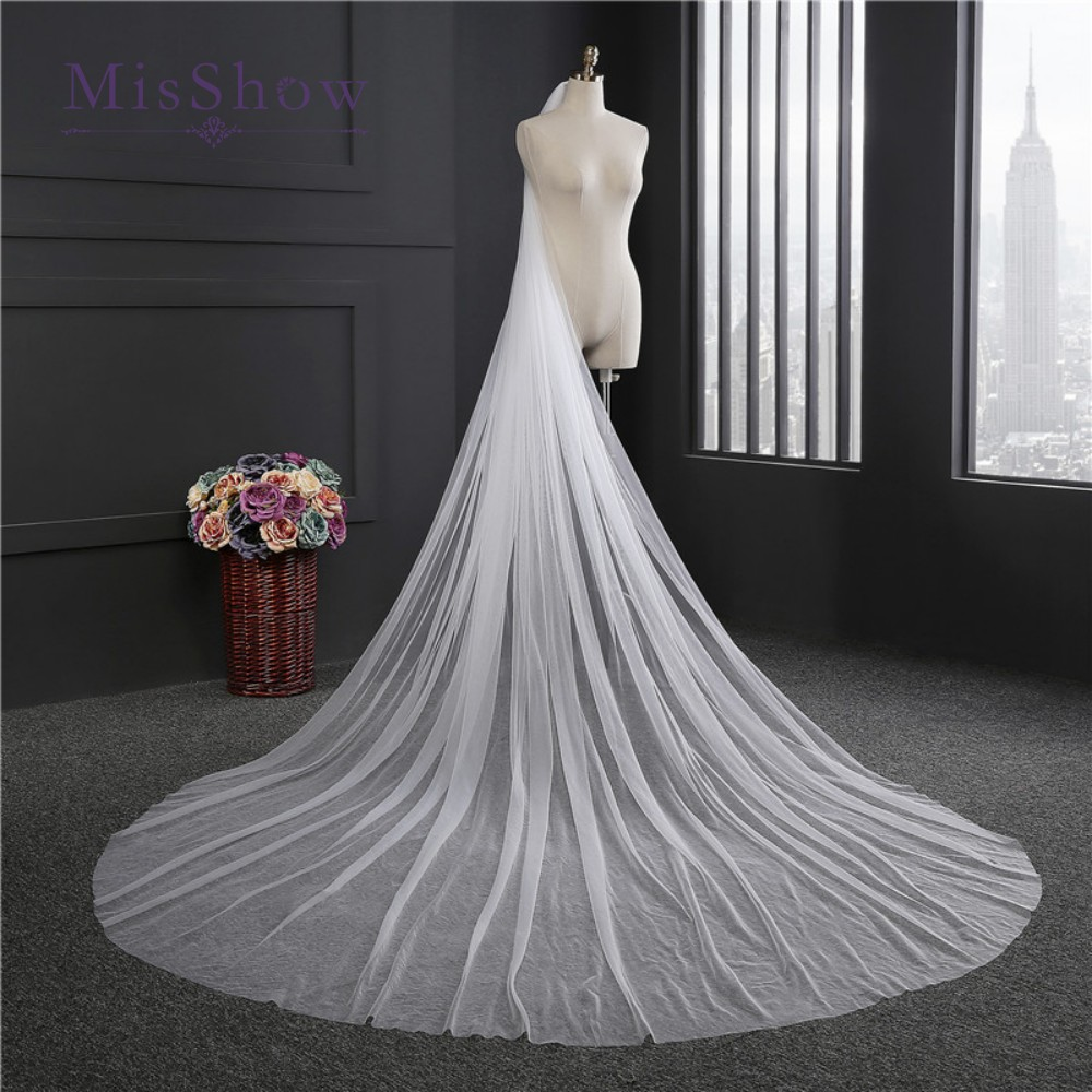 Simple White Ivory Cathedral Length Wedding Veils One Layer Tulle Long Bridal Veil Wedding Accessories With Comb