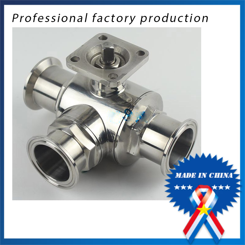 1.5 inch Stainless Steel 304 Three-way Ball Valve with Bracket 2 sanitary stainless steel ball valve 2 way 304 quick installed food grade pneumatic valve double acting straight way valve