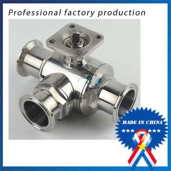 free shipping 1.5 inch Stainless Steel 304 Three-way Ball Valve with Bracket