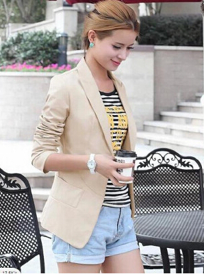 2016 New Fashion Winter Women Slim jackets Coat Casual Jackets Long Sleeve V-Neck Black White One Button Suit Outerwear