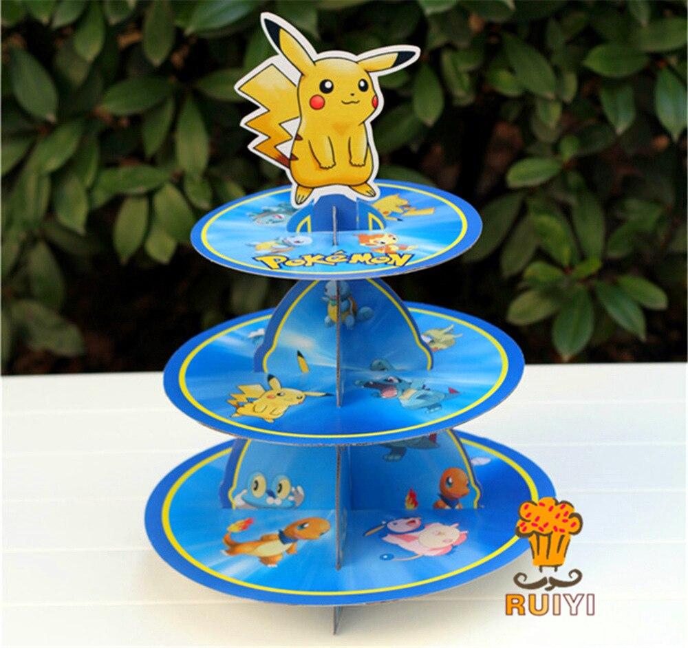 1pc 3-tier Pikachu Cupcake Holder Pokemon Go Cake Stand Holder 24pc Cupcakes Theme Party For Kids Boy Girl Birthday Decoration