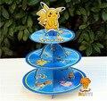 1pc 3-tier pikachu cupcake titular pokemon ir bolo suporte 24pc cupcakes tema festa para crianças menino menina aniversário decoração