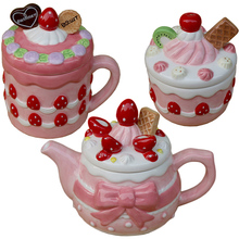 Creative Pink Strawberry Teapot Cup Ceramic Candy Salt Jar Girl Hearts Cute Afternoon Tea Set Christmas gift Free Shipping