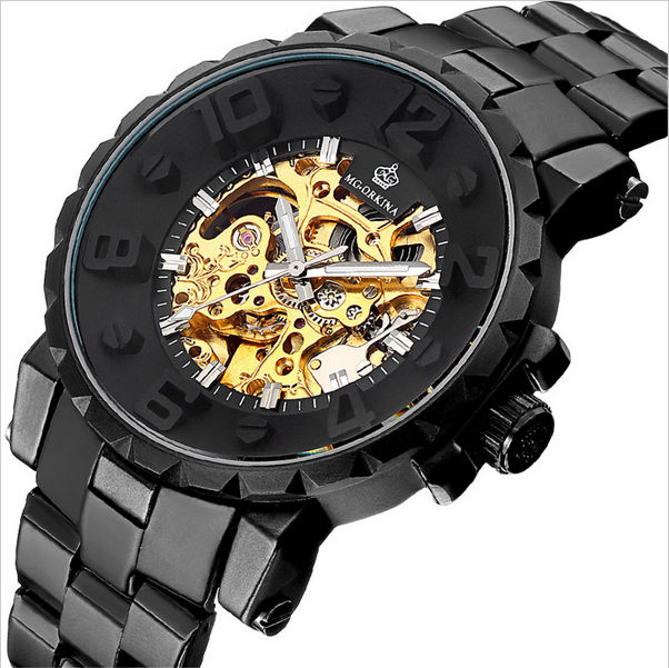 MG.ORKINA 2017 Series Relogio Masculino Black Steel Band Automatic Mechanical Luxury Golden Skeleton Male Wristwatches Men Watch 2016 luxury mens goodyear welted oxfords shoes vintage boss brogue shoes italian mens dress shoes elegant mens gents shoes derby