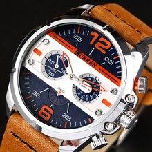 CURREN Men Watch Luxury Leather Quartz Wristwatch Male Water