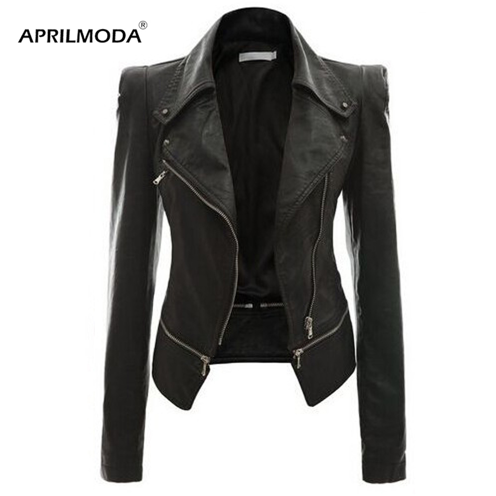 Punk Plus Size PU   Leather   Jackets Black Motorcycle Coat Slim Winter Faux   Leather   Biker Jacket Soft Jacket Female Outwear 2019