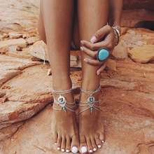 FAMSHIN 2017 Fashion Boho Ethnic blue stone Beads Anklets Chic Tassel Foot Chain Anklet Body Jewelry Anklets For Women(China)
