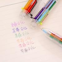 1Pcs New 6 Colors Transparent Multi Color Creative Decorative Ball Pen Ballpoint Pen Stationery Office School Pen E0428
