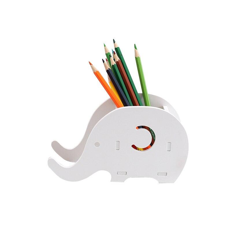 Cute Elephant Pen Holder Multifunctional Phone Tray Wood Desk Organizer Office Stationery Joy Corner