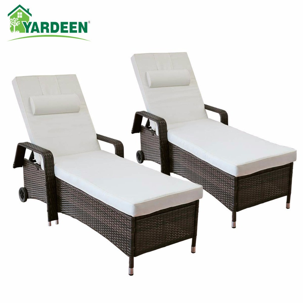 Yardeen 2 Pack Patio Chaise Lounge Chair Outdoor Poolside Rolling Armchair Reclining Adjustable Wicker Chair with Cushion Beige
