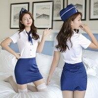 Women Sexy Flight Attendant Uniform Sexy Flight Attendant Uniform Sex Play Lingerie Sexy Hot Erotic Uniform Customs Erotic Suits