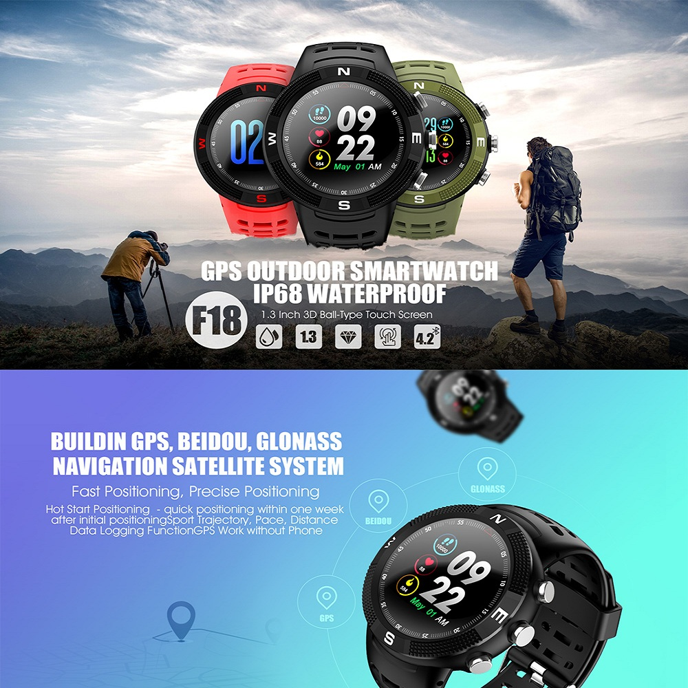 NO.1 F18 Smartwatch Sports Bluetooth 4.2 IP68 Waterproof Smart Watch GPS Call Message Reminder Pedometer Sleep Monitor image