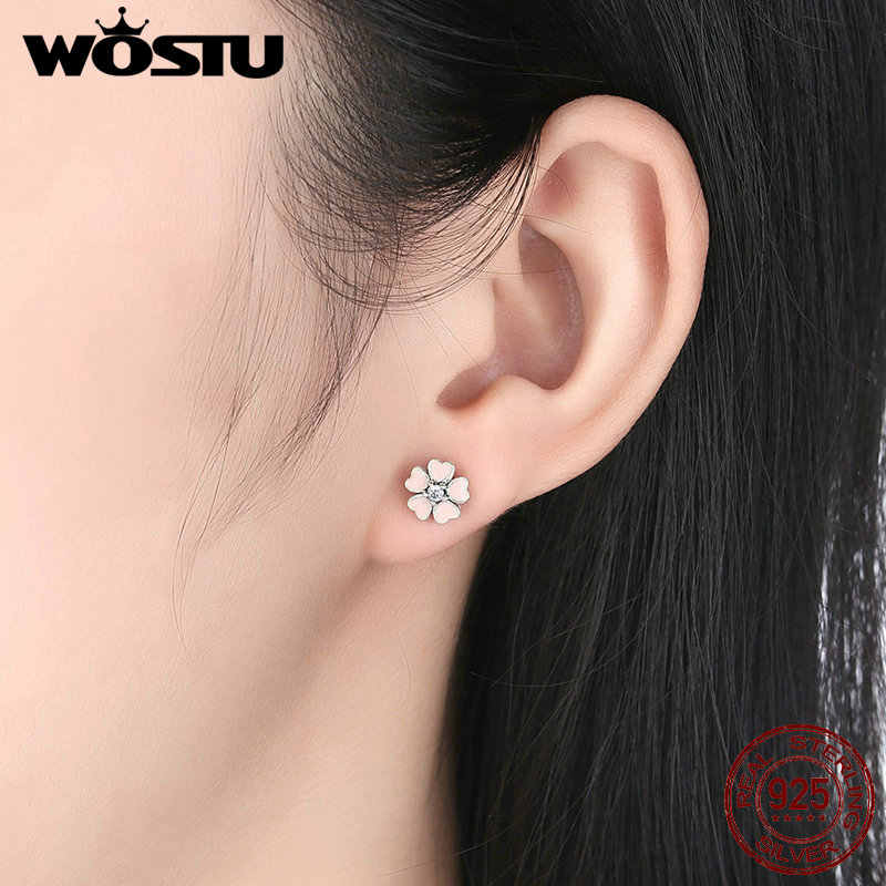 High Quality 925 Sterling Silver Cute Pink Oriental Cherry Stud Earrings For Women Authentic Luxury Fine DIY Jewelry CQE028
