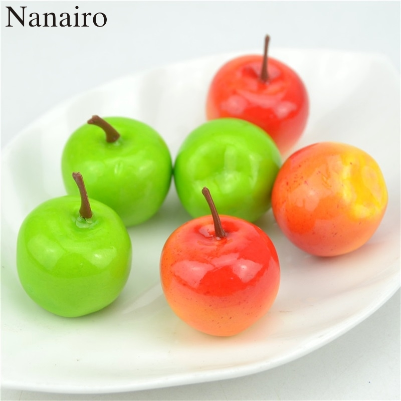 2016 15pcs Artificial Fruits And Vegetables Green Apple For Wedding Decoration Scrapbooking Simulation Wreath Fake Flowers
