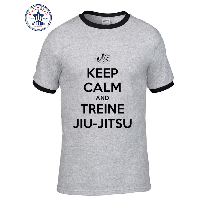 71d1b0d401ba45 2017 Hot Selling Funny KEEP CALM AND TREINE JIU-JITSU Cotton T Shirt for  men - us209
