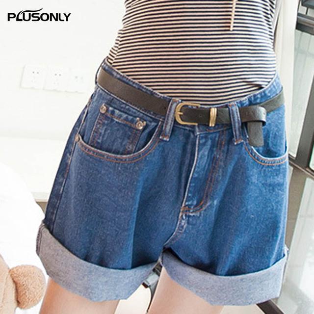 Pantalones Cortos de mezclilla de Las Mujeres 2017 Nuevo Ocasional Flojamente más Tamaño Pantalones Cortos de Verano Azul Cielo Azul JRSJ09