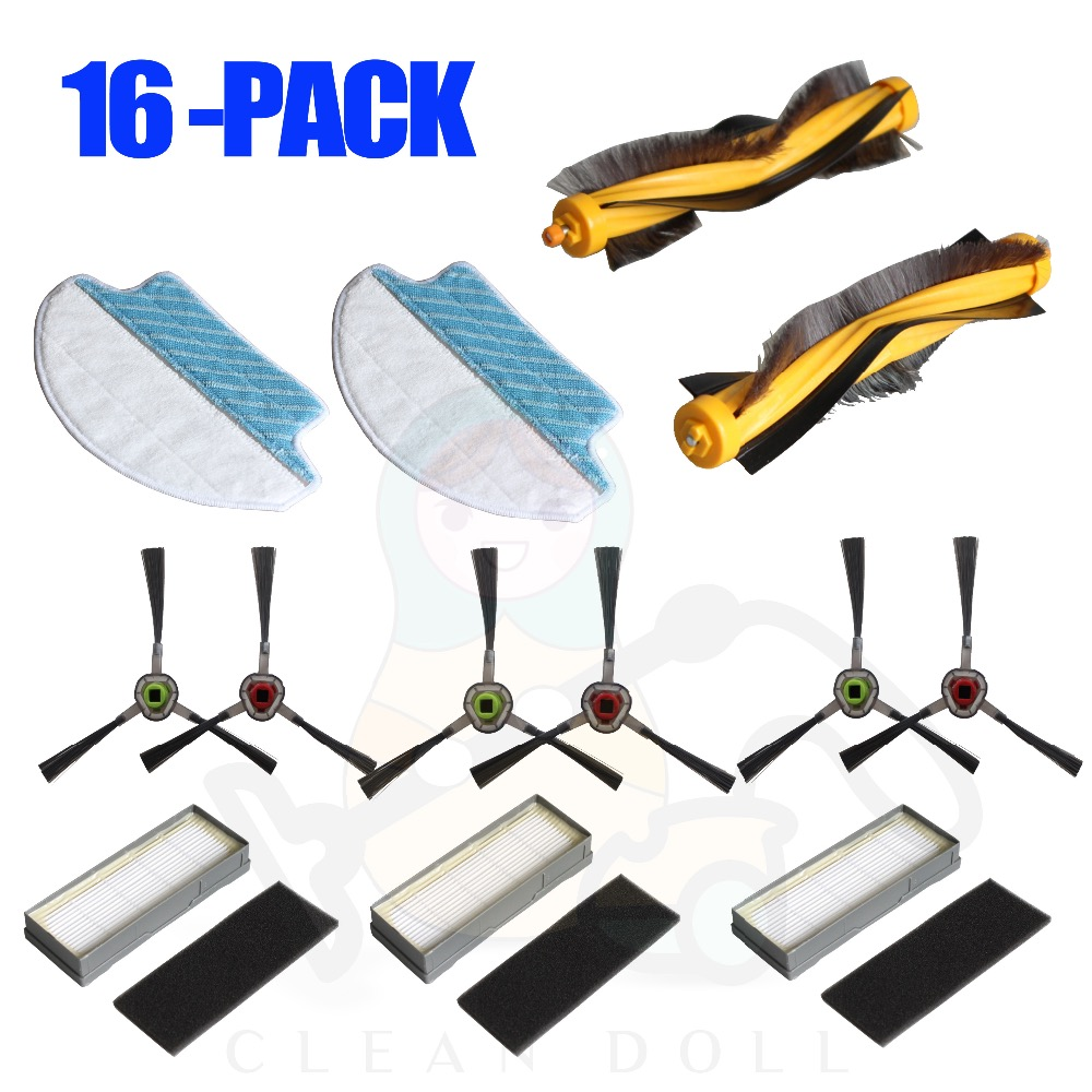 16-PACK Main brush Filter mopping cloth pads for DEEBOT Ecovacs M80 M80 Pro DT85 DT83 DM81 DM85 Vacuum Cleaner spare parts 3 pairs hepa filter 1pc turbo brush main agitator brush 3 pairs side brush for deebot dt85 dt83 dm81 vacuum cleaner for house