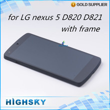 1 piece free shipping replacement screen for LG Google Nexus 5 D820 D821 lcd display + touch digitizer complete+frame + tools