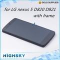 1 unidades envío gratis reemplazo de la pantalla para lg google nexus 5 D820 D821 lcd display + touch digitizer + frame completa + herramientas