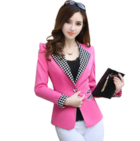Spring Autumn Plaid Patchwork Blazer Jacket Women Slim Long Sleeve One Button Blazers Coats OL Elegant