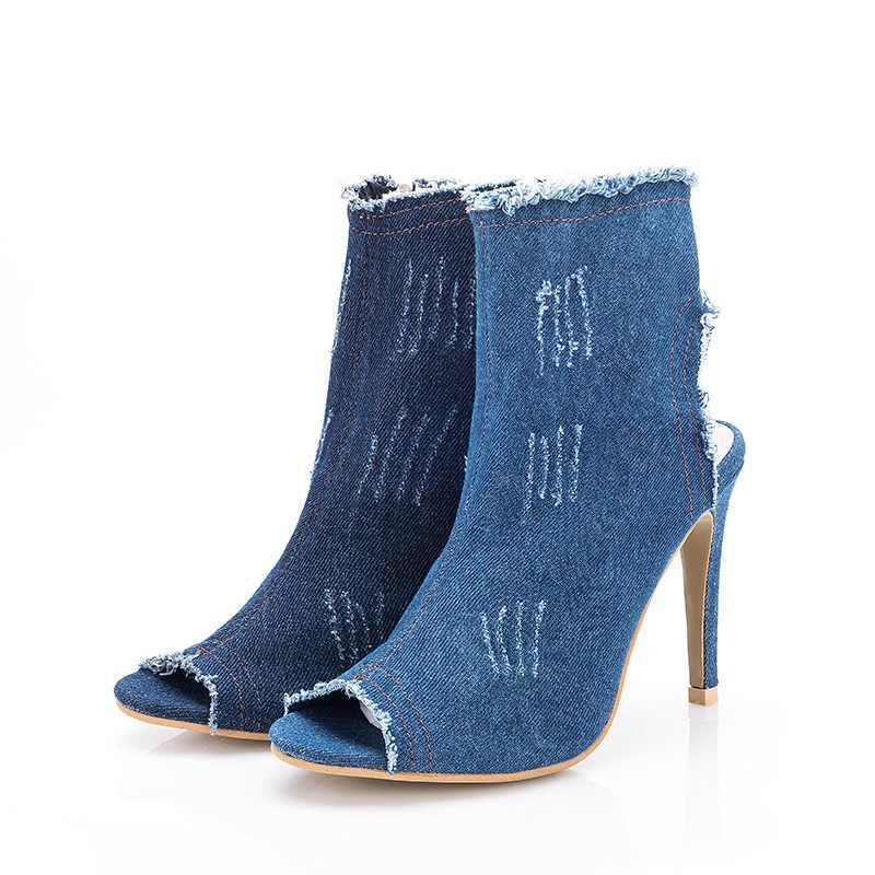 2018 Sıcak Kadın Botları yüksek topuklu yaz sonbahar peep toe Üzerinde Botları kaliteli sıkı Yüksek kot çizmeler moda artı boyutu