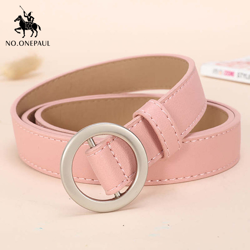 NO.ONEPAL Silver Round Alloy Pin Buckle Women's Delicate Leather Fashion Belt This Casual Ladies Slim Belt Is Designed For Women