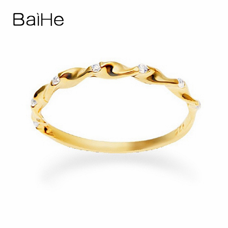 BAIHE Solid 18K Yellow Gold(AU750) 0.04ct SI/H Round CUT 100% Natural Diamonds Anniversary Fine Jewelry Trendy Women Gift Ring  BAIHE Solid 18K Yellow Gold(AU750) 0.04ct SI/H Round CUT 100% Natural Diamonds Anniversary Fine Jewelry Trendy Women Gift Ring
