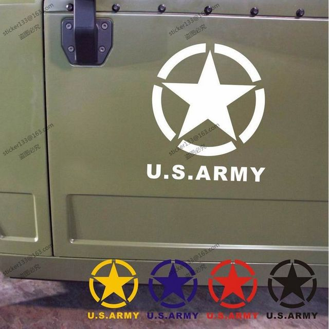 Us army star ww2 vinyl car decal bumper sticker fit for jeep etcchoose size