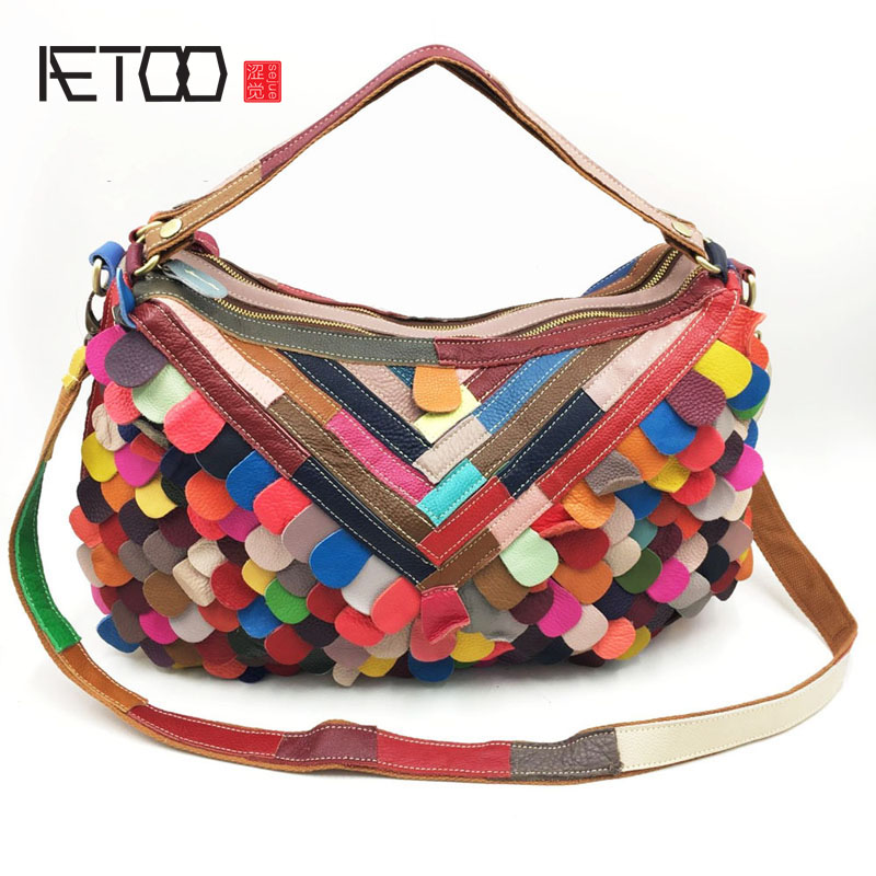 AETOO New leather shoulder bag black leather handbags fight color female package