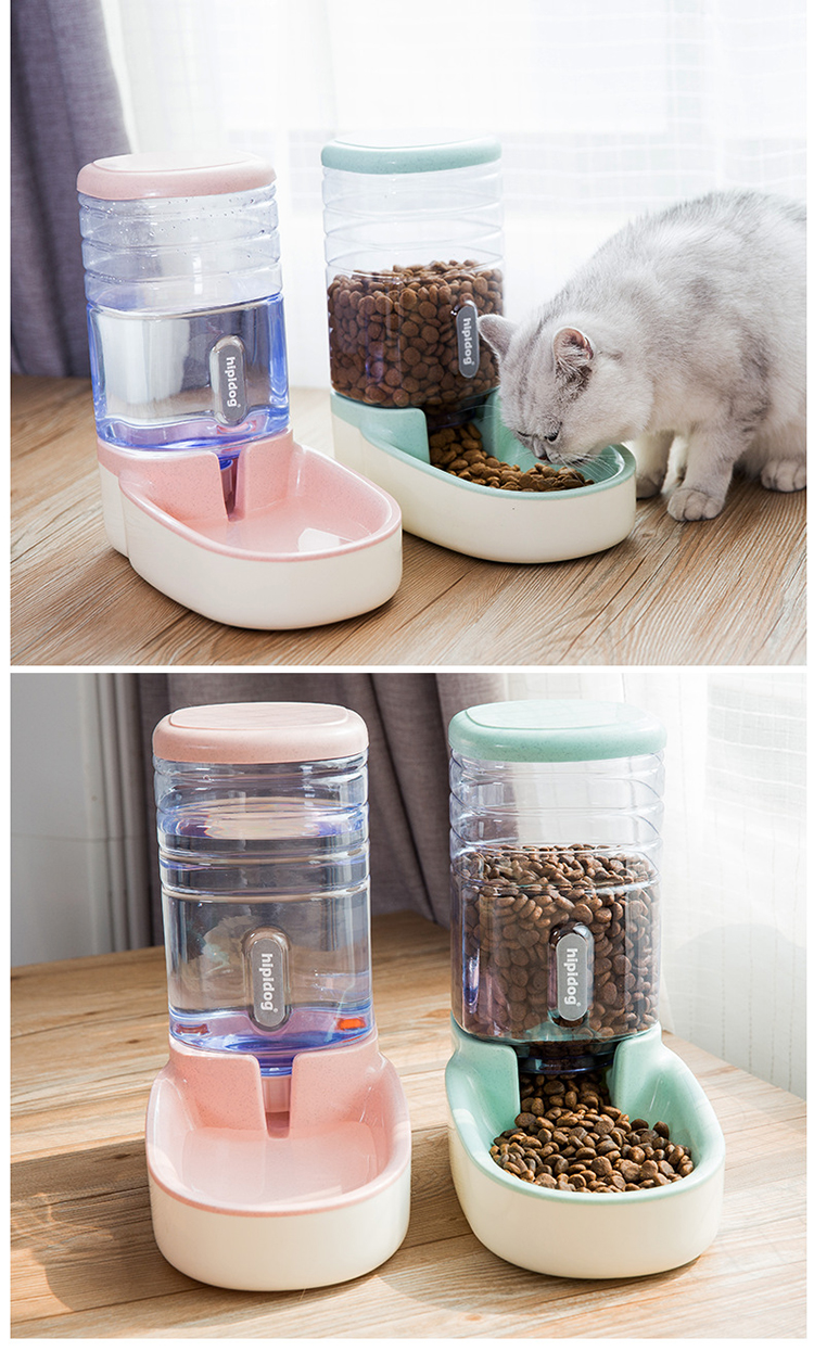 Petshy 2 Pieces/set Dog Cat Feeders Water Dispenser Fountain Bottle Set Plastic Automatic Pet Feeding Drinker Water Bowl 14