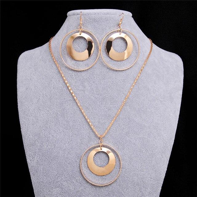 סטי תכשיטים אפריקאים לנשים בציר זהב צבע מתכת עגול עגילי מסיבת חתונת תכשיטי שמירה על שרשרת תליון מתנה