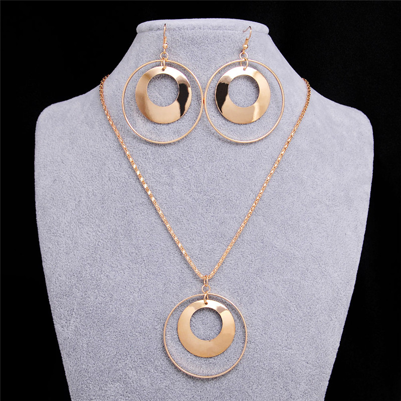 Vintage African Jewelry Sets for Women Gold Color Metal Round Pendant Necklace Statement Earrings Wedding Party Jewellery Gift