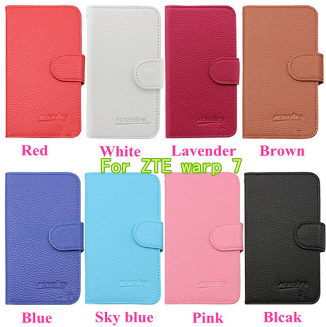 2016 Hot Selling Fashion Elegance Leather Luxury Litch Flip Wallet Phone Case Cover For ZTE warp 7 N9519 Card Slots Free DHL