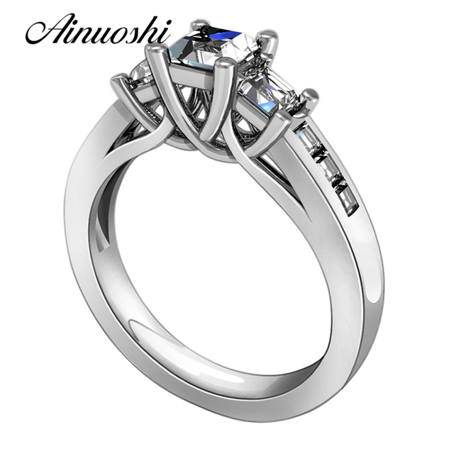 Hot Princess Cut Simulated Sona Ring 925 Solid Silver Wedding Band 3 Stones Mount Engagement Promise
