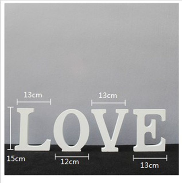 White Wooden LOVE Wedding Sign Romantic Wedding Decoration DIY Marriage LOVE Letters Photography Props 15*13*2CM 1